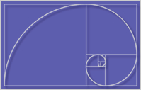 A fibonacci sequence of quarter-circles inside squares (of sizes 1, 1, 2, 3, 5, 8, 13, 21, and 34), estimating the Golden Spiral